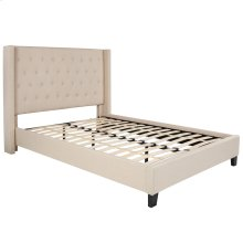 Full Size Tufted Upholstered Platform Bed in Beige Fabric