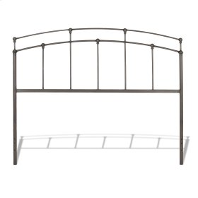 Fenton Metal Headboard Panel with Globe Finials, Black Walnut Finish, Queen
