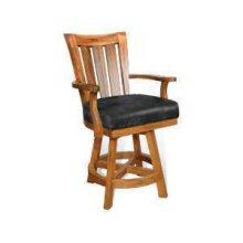 "24""H Sedona Slatback Barstool w/ Swivel, Cushion Seat"