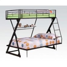 Black T/f Bunkbed W/book Shelf