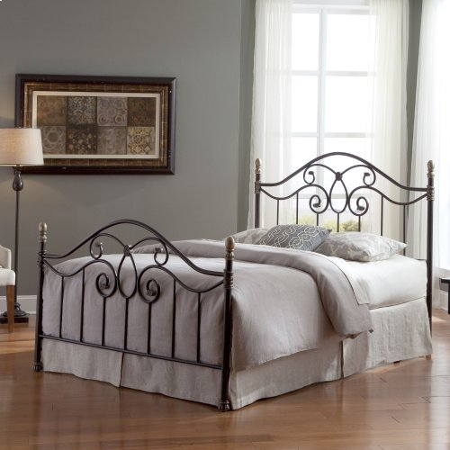 Dynasty Bed with Arched Metal Duo Panels and Scalloped Finial Posts, Autumn Brown Finish, King
