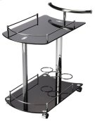 This attractive modern bart cart is a must-have for anyone that enjoys entertaining. It features a chrome plated tubular metal frame, black tempered glass shelves - each with a chrome plated gallery - and wine bottle storage for up to 3 bottles on the bot Product Image