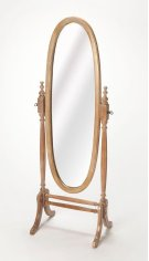 This gracious oval cheval mirror adds an often-overlooked decorative touch to a room. Featuring a swivel-tilt design, this full-length mirror can easily be set to a desired angle by adjusting the antique brass finished thumb screws on either side. Crafted Product Image