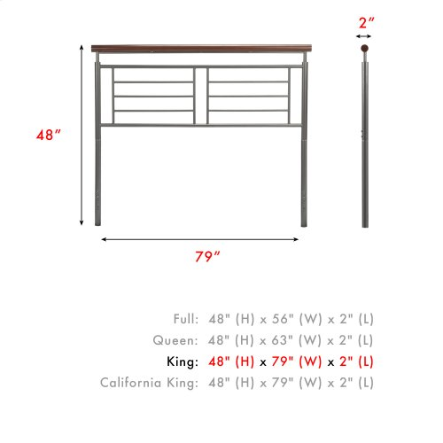 Fontane Metal Headboard Panel with Geometric Grill and Rounded Cherry Wood Color Top Rail, Silver Finish, King