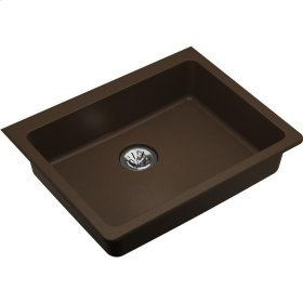 "Elkay Quartz Classic 25"" x 18-1/2"" x 5-1/2"", Single Bowl Undermount ADA Sink with Perfect Drain, Mocha"