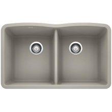 Blanco Diamond Equal Double Bowl - Concrete Gray
