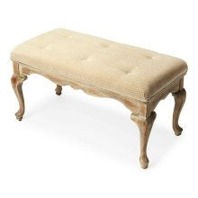 This delightful Queen Anne styled bench is a wonderful addition to any bedroom, entryway or sitting area. It is crafted from selected hardwood solids and wood products. Features a button-tufted chenille upholstered cushion and distressed Driftwood finish.