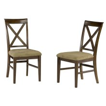 Lexi Dining Chairs Set of 2 with Cappuccino Cushion in Walnut