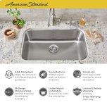 "American StandardPortsmouth 30x18"" ADA Single Bowl Stainless Steel Kitchen Sink  American Standard - Stainless Steel"