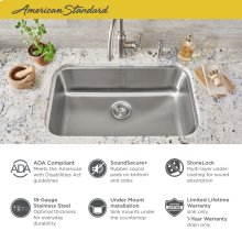 "Portsmouth 30x18"" ADA Single Bowl Stainless Steel Kitchen Sink  American Standard - Stainless Steel"