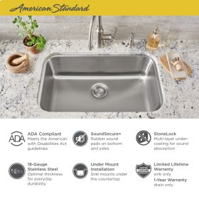 """Portsmouth 30x18"""" ADA Single Bowl Stainless Steel Kitchen Sink  American Standard - Stainless Steel"""