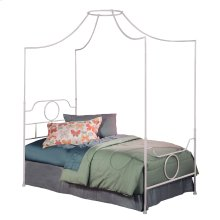 Emsworth Fashion Kids Complete Metal Canopy Bed and Steel Support Frame with Geometric Shape Design and 89-Inch Height, White Finish, Full