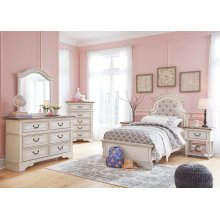 Realyn - Chipped White Twin Bedroom Set: Includes Twin Bed, Nightstand, Dresser & Mirror