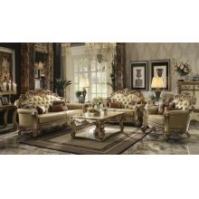 GOLD PATINA/BONE PU SOFA @N