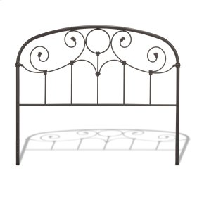 CLEARANCE ITEM--Grafton Metal Headboard Panel with Prominent Scrollwork and Decorative Castings, Rusty Gold Finish, Queen