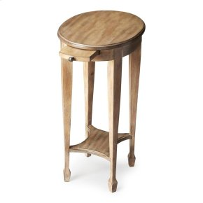 This attractive accent table is hand crafted from selected hardwood solids, wood products and choice veneers. It is perfectly proportioned to sit beside an easychair or serve as a bedside table. It features a matched birch veneer top in a distressed drift
