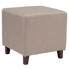 Upholstered Ottoman Pouf in Beige Fabric