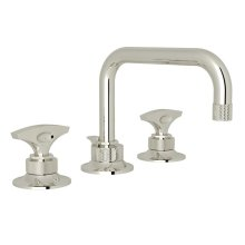Polished Nickel Graceline U-Spout Widespread Lavatory Faucet with Metal Dial Handle Graceline Series Only