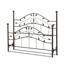 Sycamore Metal Headboard and Footboard Bed Panels with Leaf Pattern Design and Round Final Posts, Hammered Copper Finish, King