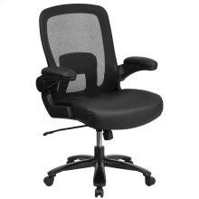Big & Tall 500 lb. Rated Black Mesh Executive Swivel Chair with Leather Seat and Adjustable Lumbar
