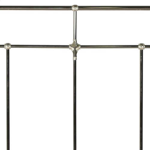 Northbrook Metal Headboard and Footboard Bed Panels with Antique Styling and Bold Finial Posts, Black Nickel and Chrome Finish, California King