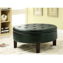 Casual Dark Brown Round Ottoman