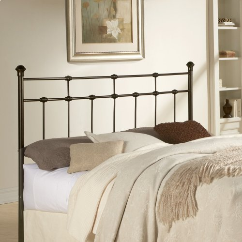 Dexter Metal Headboard with Decorative Castings and Globe Finials, Hammered Brown, King