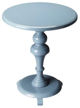 The mesmerizing turns of this accent table's pedestal provide the perfect counterpoint to the simplicity of the table top and base, creating a design sure to complement virtually any décor. Crafted from rubber wood solids, wood products and choice cherry