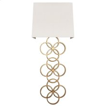 Large Gold Leaf Circles Sconce With White Linen Shade Ul Approved for Two 40w Candelabra Bulbs.