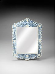This magnificent Wall Mirror features sophisticated artistry and consummate craftsmanship. The botanic patterns covering the piece are created from white bone inlays cut and individually applied in a sea of blue by the hands of a skillful artisan. No two Product Image