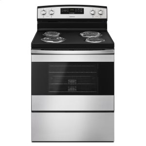 Amana30-inch Electric Range with Bake Assist Temps Black-on-Stainless