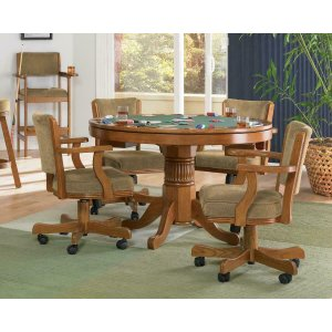 CoasterMitchell Three-in-one Amber Game Table and Four Arm Chairs