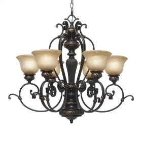 Jefferson 6 Light Chandelier in Etruscan Bronze with Antique Marbled Glass