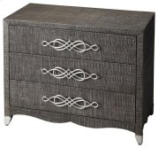 Elegance of classic form blended with mixed materials brings unique perspective to casual styling, woven raffia adorns the drawer and end panels This fantastic chest has just a touch of whimsy with its curl a cue accents giving the accent chest a light an Product Image