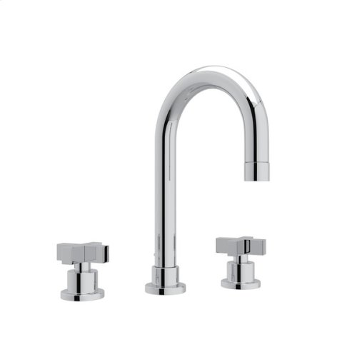Polished Chrome Pirellone C-Spout Widespread Lavatory Faucet with Cross Handle