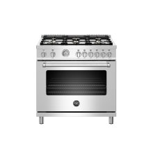 36 inch All Gas Range, 6 Brass Burners Stainless Steel