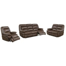 Levi Brown Leather Gel Reclining Loveseat