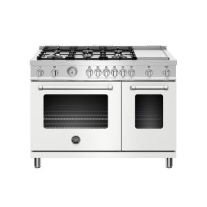 Bertazzoni48 inch All Gas Range, 6 Burner and Griddle Matt White