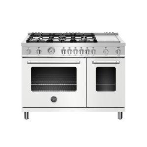 BERTAZZONI48 inch All Gas Range, 6 Burner and Griddle Bianco Matt