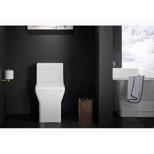 Almond Comfort Height One-piece Elongated Dual-flush Toilet With Top Actuator and Skirted Trapway