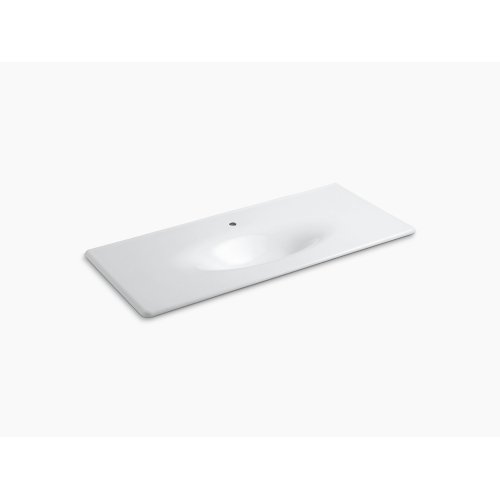 "White 49"" Vanity-top Bathroom Sink With Single Faucet Hole"