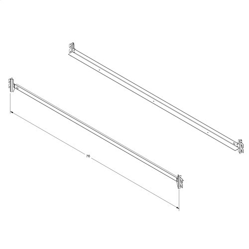 75-Inch 140H Black Bed Frame Side Rails with Hook-On Brackets for Headboards and Footboards, Twin - Full