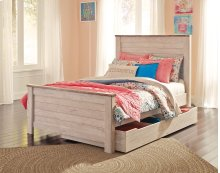 Willowton - White Wash 5 Piece Bed Set (Full)