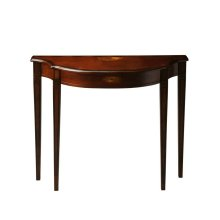 This Pembroke-inspired console is highly elegant, yet unpretentious. Crafted from hardwood solids and wood products, it features a beautiful curves with a cherry veneer top. Both the top and apron front have linen-fold pattern inlays of maple and walnut.