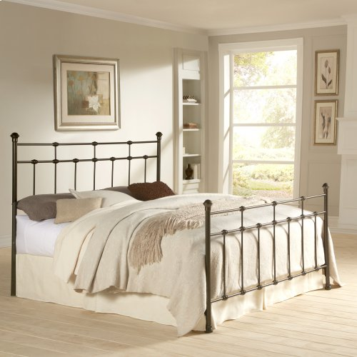 Dexter Metal Headboard and Footboard Bed Panels with Decorative Castings and Finial Posts, Hammered Brown Finish, King