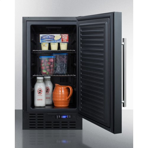 "18"" Wide Built-in Undercounter All-refrigerator In Black With Digital Thermostat and Front Lock"