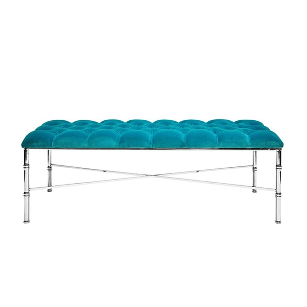 Nickel Plated Bamboo Bench With Turquoise Velvet Tufted Upholstery