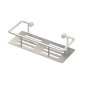 Elegant Shower Shelf with Rails in Satin Nickel