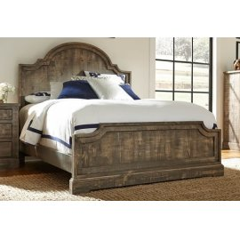 6/6 King Panel Bed - Weathered Gray Finish
