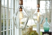 Glass Pendant Light (1/CN) Gaenor - Clear/Copper Finish Collection Ashley at Aztec Distribution Center Houston Texas